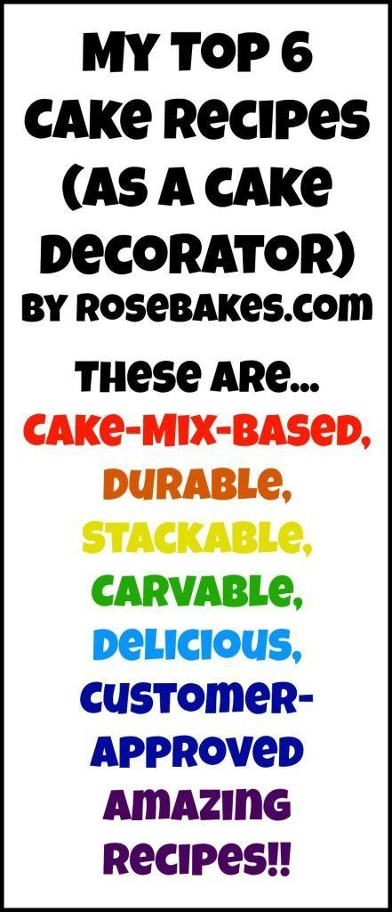 Top 6 Cake Recipes- includes vanilla, chocolate, almond sour cream, italian…