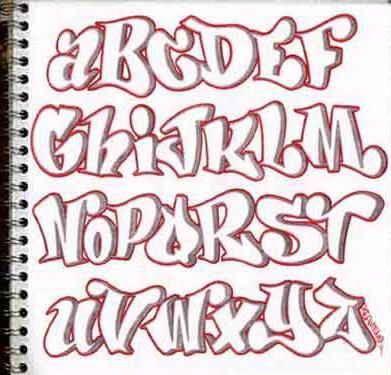 Design sketch graffiti alphabet letters a-z in the paper. Sketch graffiti alphabets with pink color. Bubble style graffiti fonts.
