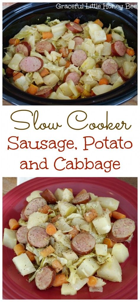 Slow Cooker Sausage, Potato and Cabbage