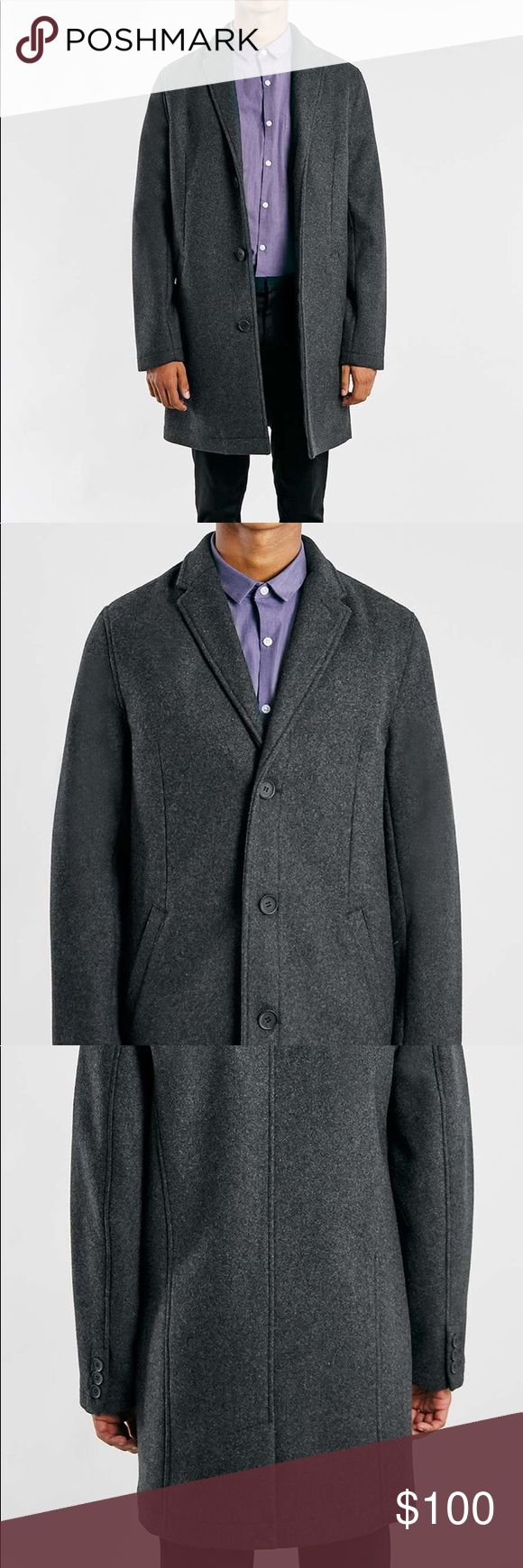 CHARCOAL WOOL BLEND OVERCOAT • Charcoal wool blend overcoat with tonal buttons and warm inner lining. • 52% Wool, 43% Polyester, 2% Acrylic, 2% Viscose, 1% Nylon. • Dry clean only. • Model is 6 foot 1 and wears a medium • Colour: GREY Topman Jackets & Coats