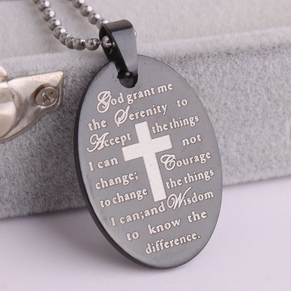 Black oval cross Holy Bible Stainless Steel pendant necklaces for men & women
