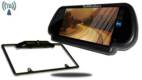 7-Inch Mirror with Wireless CCD Steel License Plate Frame Backup Camera