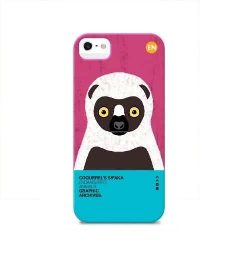 Endangered Animals Illustration printed case for iphone 5 5s -Coquerel's Sifaka  #SungsilHwarang