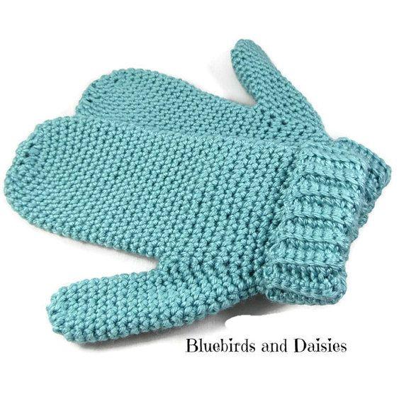 Ladies Duck Egg Blue Crochet Mittens Winter by Bluebirdsanddaisies