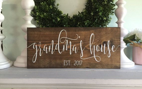 Grandmas house Grandparent house sign pregnancy by WoodSignStudio