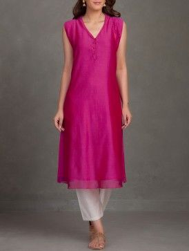 Fuchsia Chanderi Kurta With Cap Sleeves