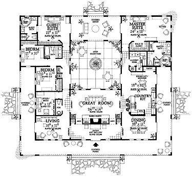 Spanish revival floor plans dream homes pinterest for Small spanish house plans