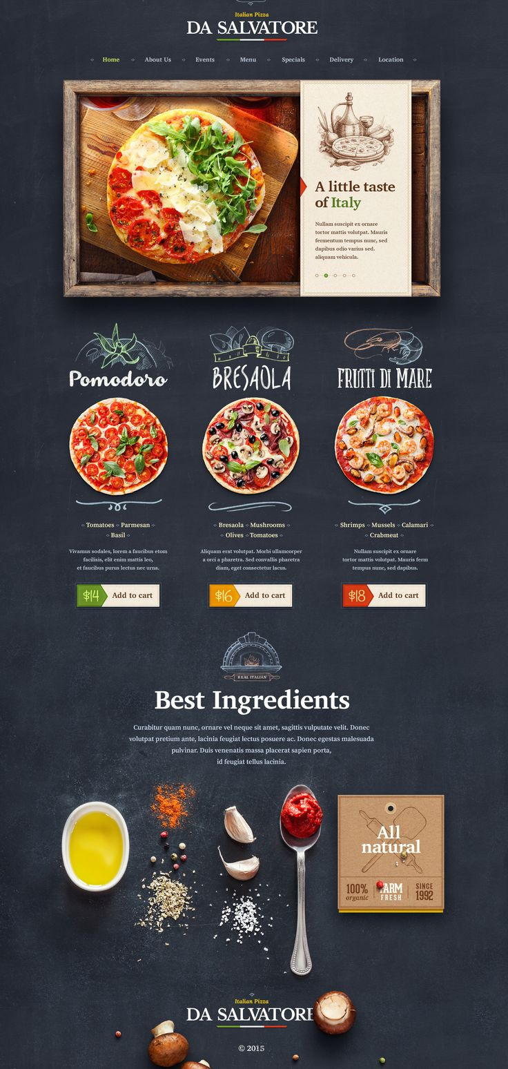 Another organic food visual style and website design concept for Italian Pizzeria by Mike | Creative Mints on dribbble.