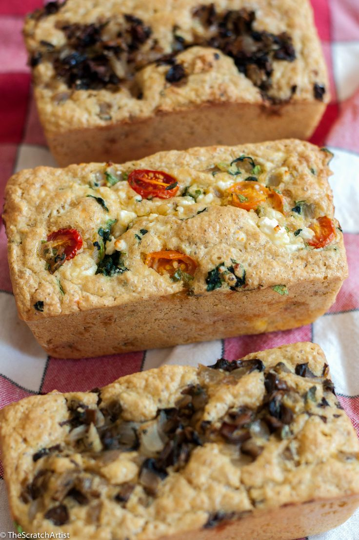 These gluten free flaxseeds breads are made with golden flaxseed meal and chickpea flour and filled with savory vegetables. Think quiche in bread form!