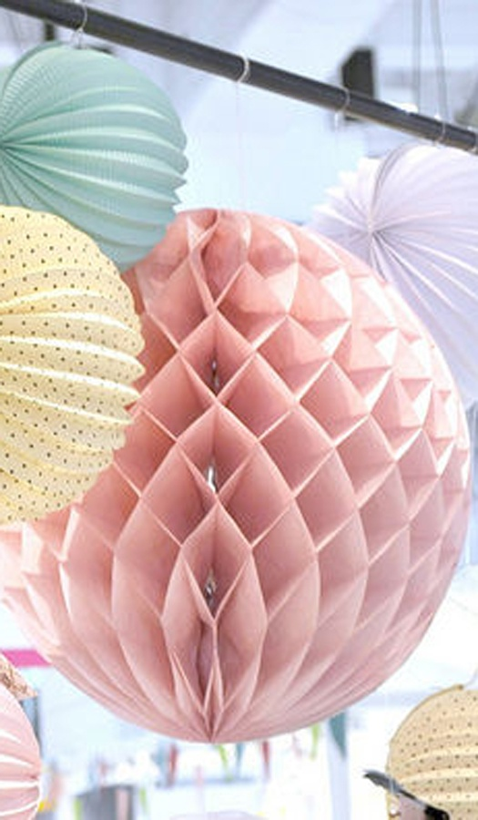Paper Honeycomb Balls, Mixed With Watermelon (accordion) Lanterns. The  Perfect Mix.