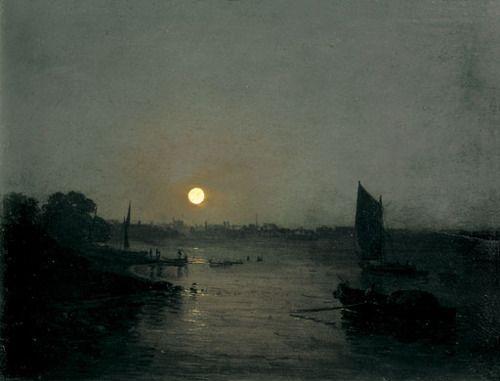 Moonlight, a Study at Millbank 1797 J. M. W. Turner, oil on mahogany panel