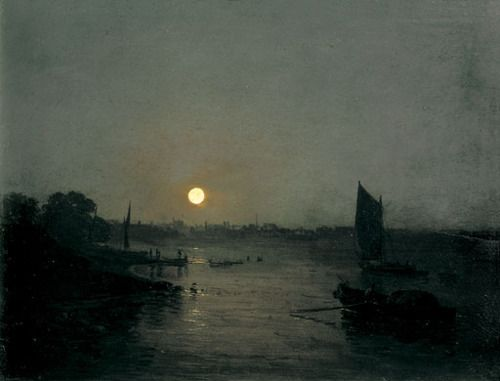 ifraangelico:    Moonlight, a Study at Millbank 1797  J. M. W. Turner, oil on mahogany panel.