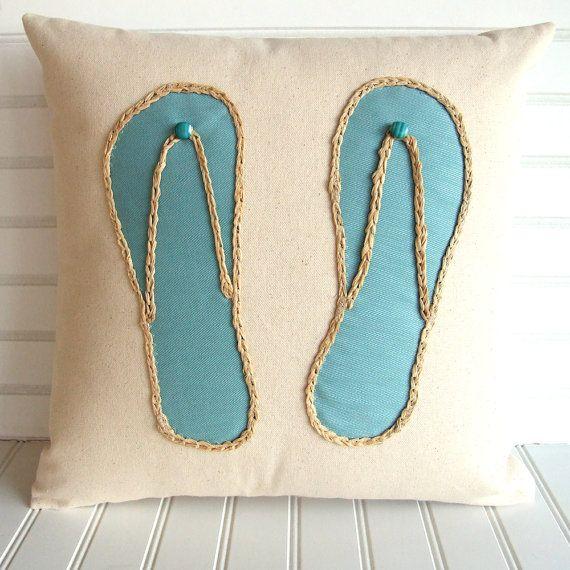 Turquoise Flip flop pillow