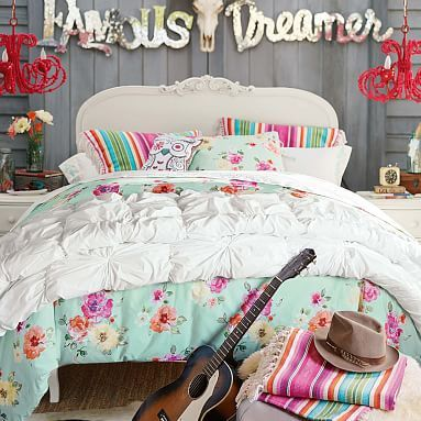 Junk Gypsy Country Blooms Duvet Cover, Full/Queen, Light Pool/Multi