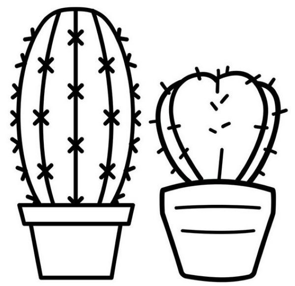 Simple Cactus Coloring Page For Kids Free Coloring Pages Flower Coloring Pages Coloring Pages For Kids