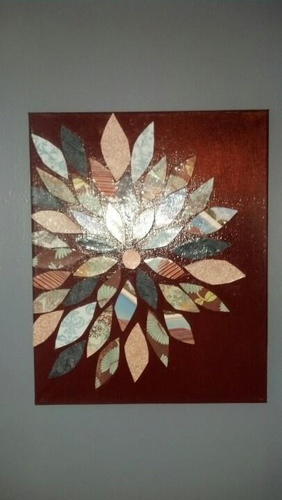 Canvas, paint, modpodge and scrapbook paper...