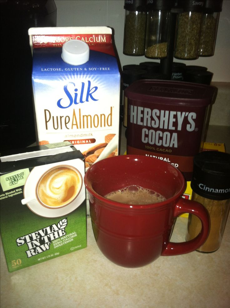 Guilt free hot chocolate. Combine 1 cup almond milk, 1 tbsp unsweetened cocoa powder, 2 Stevia packets, and sprinkle with cinnamon. Microwave for 90 seconds, stir, and enjoy =)