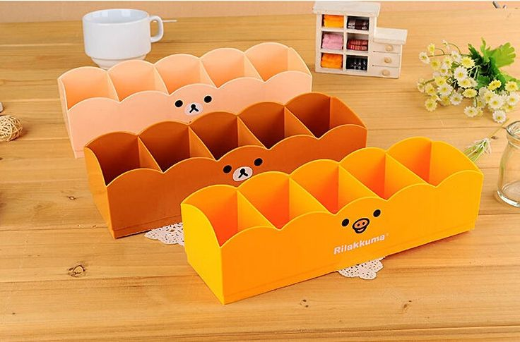3 pcs new Plastic Stationery Makeup Cosmetic Desk Storage Box drawer Organizer