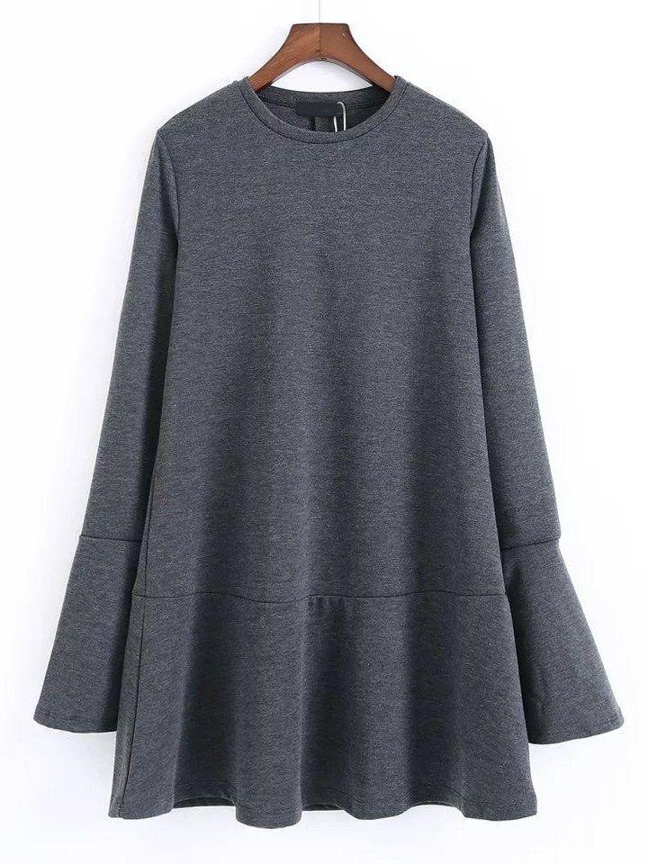 Dark Grey Split Bell Sleeve Drop Waist Dress