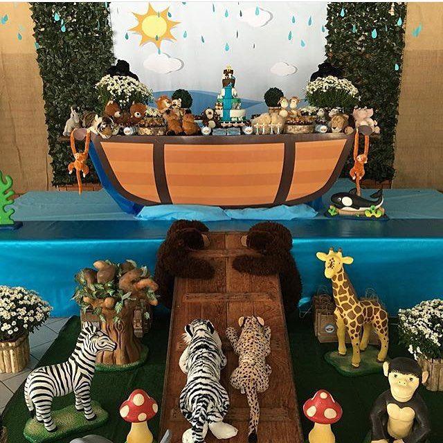 Adorei essa festa com tema Arca de Noé! Decoração muito fofa por @maradelmondes 🐅🐐🐘 #kikidsparty