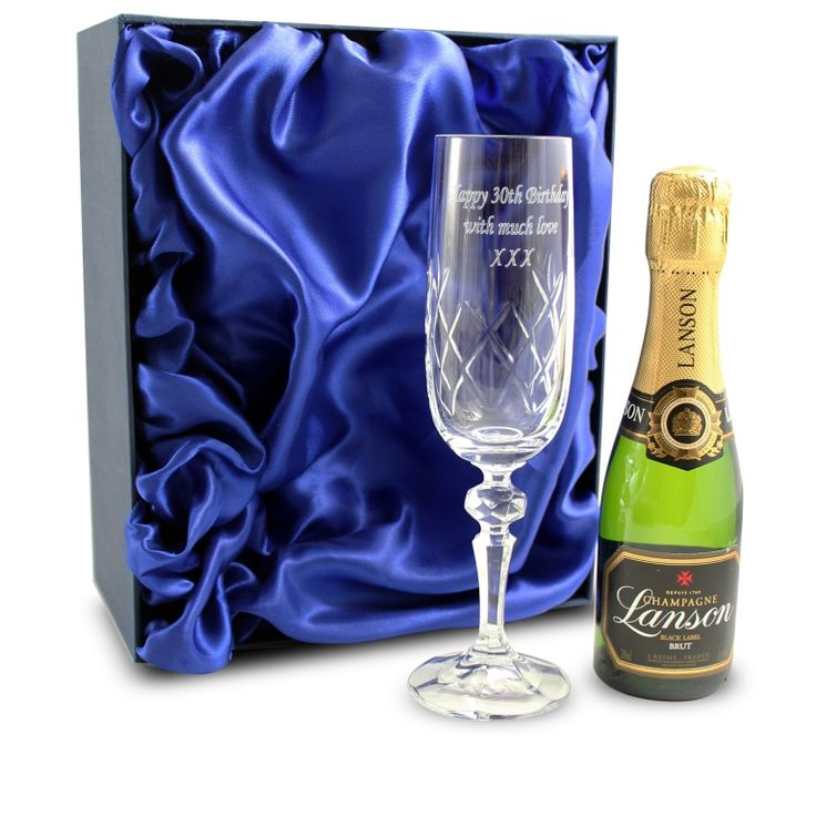Personalised Crystal Flute & Miniature Champagne Gift Set . Valentines Day Gift Ideas