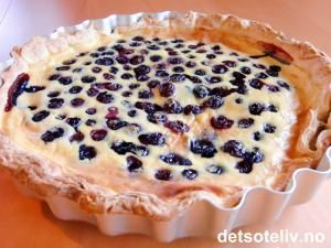 Blåbærpai med eggekremfyll | Det søte liv