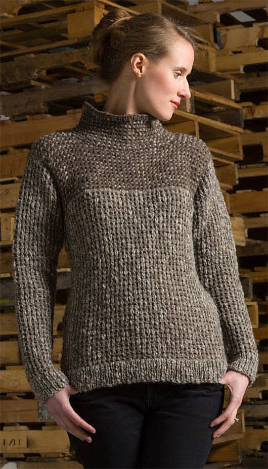 3c33e41cc Free Knitting Pattern for Waffle Stitch Pullover - Long-sleeved sweater  with funnel neck is knit in 2 color slipped stitch colorwork in waffle  stitch.