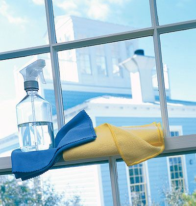 For a natural window-cleaning solution, mix 2 ounces water and 10 drops lavender or lemongrass oil to wipe off grime. (Bonus: These oils may repel flies.) No oil on hand? Mix together ¼ cup vinegar, 2 cups water, and a squirt of liquid Castile soap in a spray bottle. Lightly mist the windows and wipe with a sheet of newspaper.