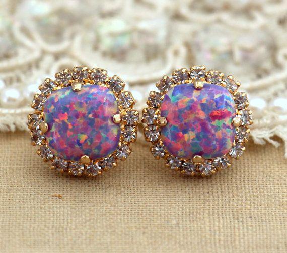 Purple violet Opal Stud earrings Swarovski Crystal earring bridesmaid jewelry Gift for woman thick Gold plated rhinestone earrings