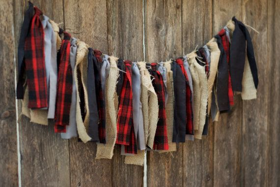 Lumberjack Rag Tie Garland-Buffalo Plaid Fabric Garland-Rustic Woodland Baby Shower Decor-Nursery Decor-First Birthday Highchair Decor