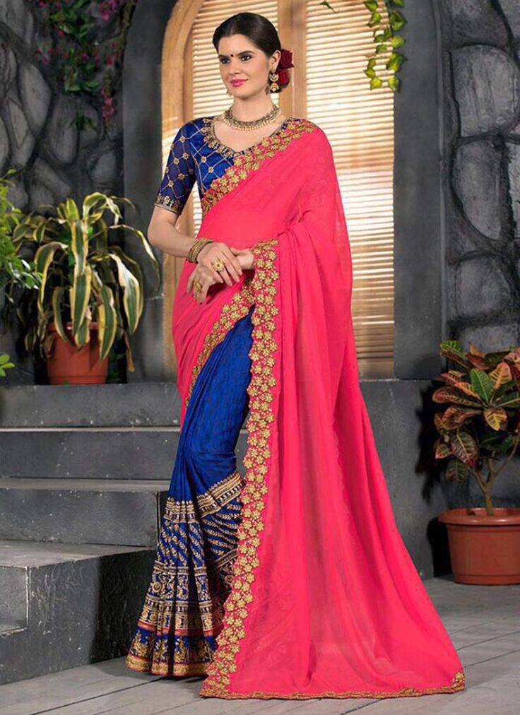 PINK N ROYAL BLUE EMBROIDERED PARTY WEAR SAREE