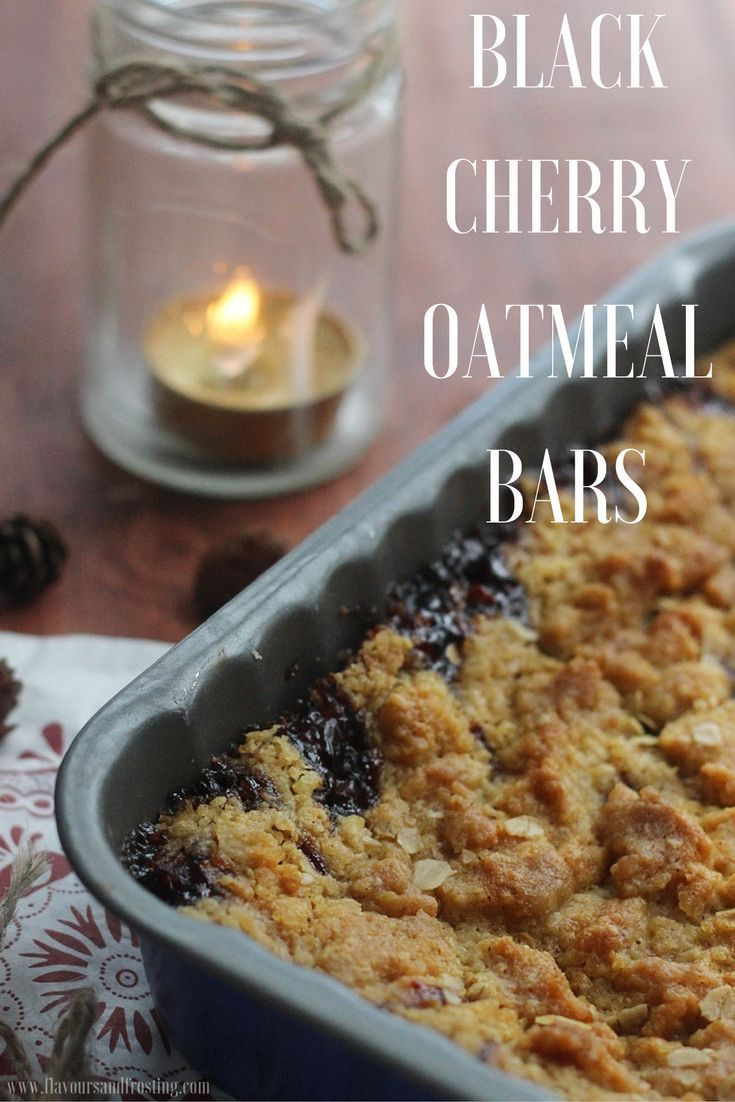 Black Cherry Oatmeal Bar Recipe | http://FlavoursandFrosting.com