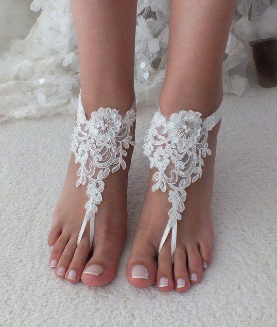 ee831d1556b38a Beach Wedding Barefoot Sandals ivory lace beach shoes