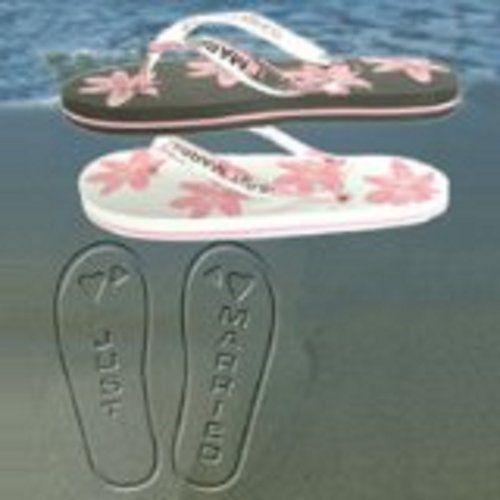 Ladies Just Married Flip Flops - White & Pink (Medium - Size 5-6