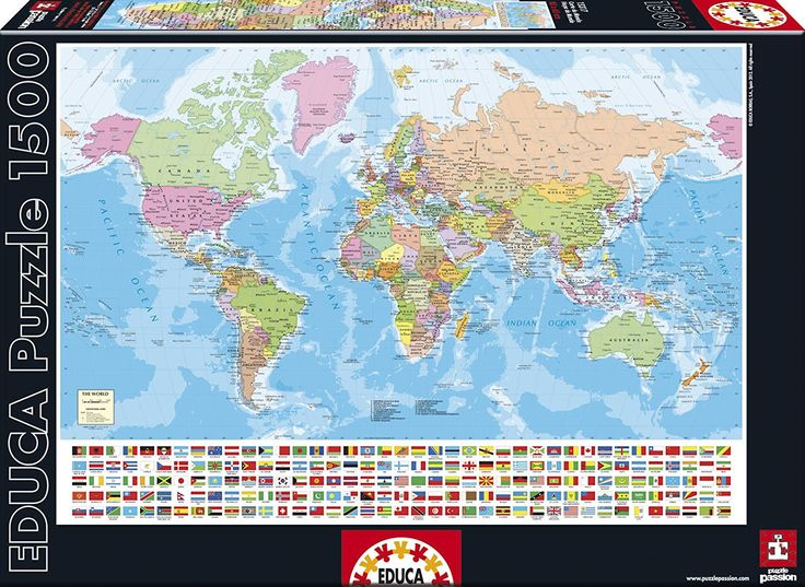 """Map of the World"" ~ a 1500 piece jigsaw puzzle by Educa Puzzles."