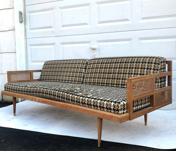 Mid Century Modern Sofa Daybed With Cane Sides Mid Century Modern Sofa Modern Sofa Mid Century Modern Daybed