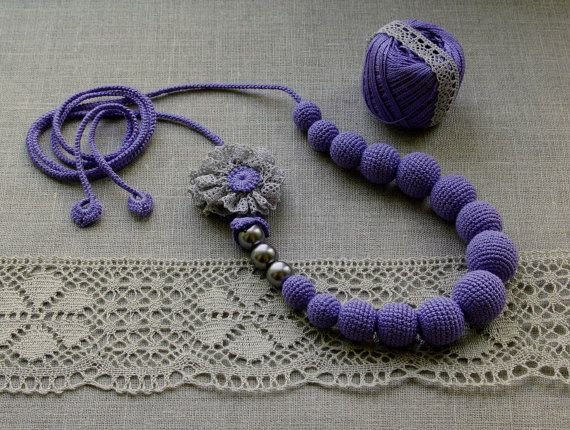 Crochet beads/necklace in light violet by Tamhippopo on Etsy