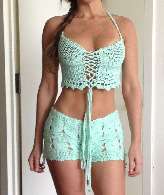 Mint Hand Crochet Shorts Hot Pants - 100% Cotton - Beachwear Resort Bikini Swimwear Cover Up - More Colors Available - Handmade In Chile