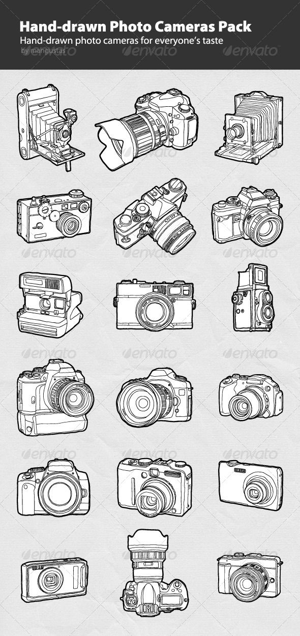 Handdrawn Photo Cameras Pack — Photoshop PSD #photo #digital camera • Available here → https://graphicriver.net/item/handdrawn-photo-cameras-pack/787116?ref=pxcr