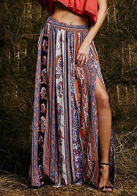 Maxi Summer Skirt Beach Long Casual Skirts Fashion New Womens Gypsy Boho Tribal Floral Skirts