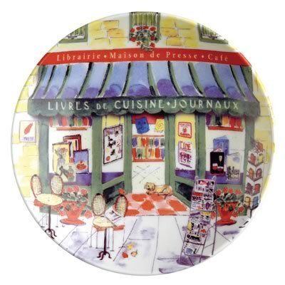 """Jill Butler Cafe News Tidbit Dish, 4.75-Inch by Sisson Imports. $2.75. Café News is just one of the delightful designs from Jill Butler's Village Merchants Collection, a frothy French assortment of charming shop scenes. The Café News tidbit plate is 4-3/4"""" in diameter, the perfect size for appetizers and snacks, or a small bite of dessert. Imported from China, the rich, bright colors of porcelain are dishwasher safe. Dimensions: 4-3/4"""""""
