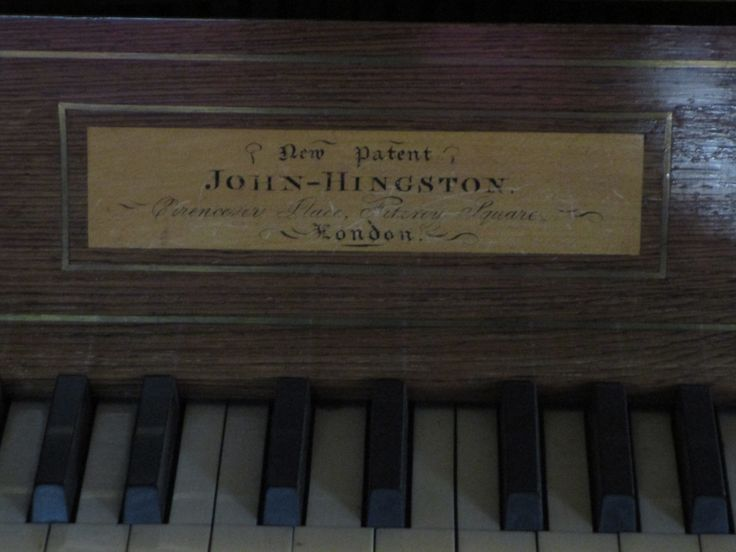 Makers plate.  Early 19th century square table piano by John Hingston, Fitzroy Square, London.