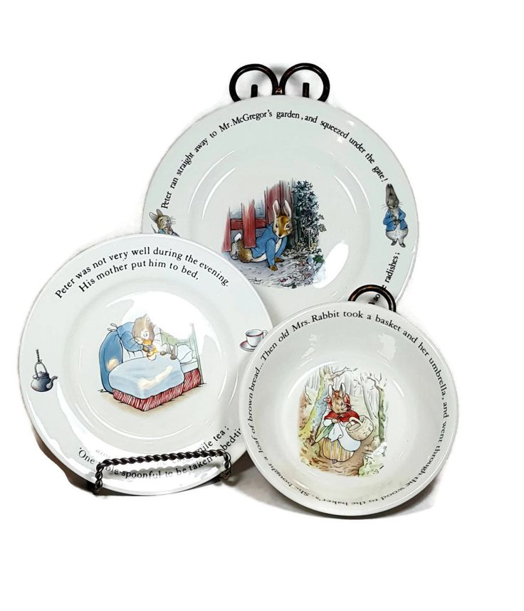 Vintage PETER RABBIT Child's Dishes Set Wedgewood China Made in England Beatrix Potter Story Dinnerware 3 pc Dinner Plate Lunch Plate Bowl by LastTangoVintage on Etsy