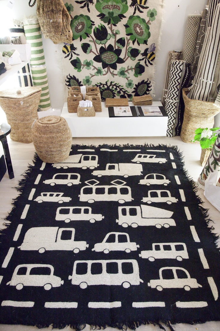 BRUM BRUM CARPET for TIKAU / Hand felted rug and hand embroidered.  pattern. Felted wool, 3 – 5 % cotton, woollen  Size: 150 x 200 cm  Colors: black/white and white/black
