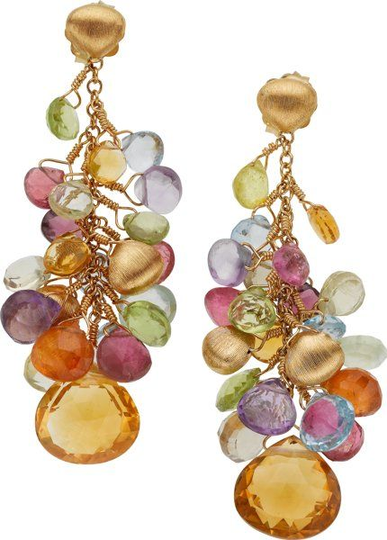 Multi-Stone, Gold Earrings, Marco Bicego.