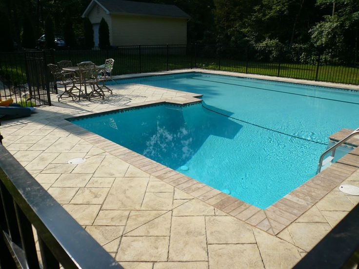 Concrete Pool Coping Stamped Custom Pool Deck With Brick
