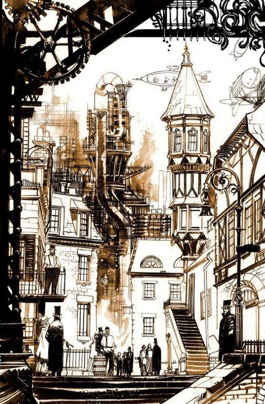 Steampunk Victorian England.                                                                                                                                                                                 More