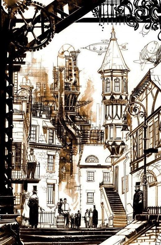 Steampunk Victorian England.