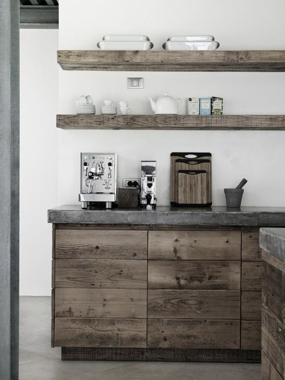 Polished Concrete Floors And Work Top. Rustic, Linear Cabinets: