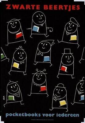 Zwarte beertjes pocketbooks voor iedereen. Dick Bruna, 1958, via Adviz